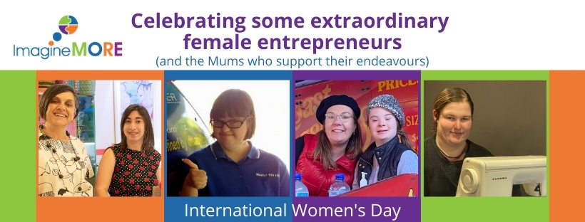 "Images of four young women with the words ""Celebrating some extraordinary female entrepreneurs and the Mums who support their endeavours"""