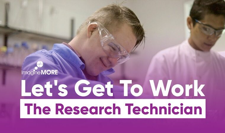 Video thumbnail showing a young research technician working alongside his workplace champion in the lab
