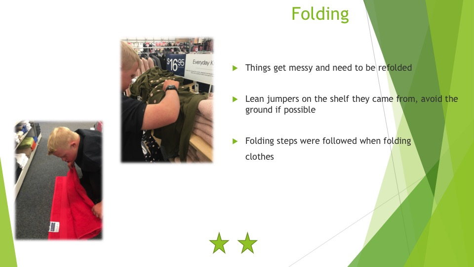 The skills required to fold and arrange clothes on display - two stars
