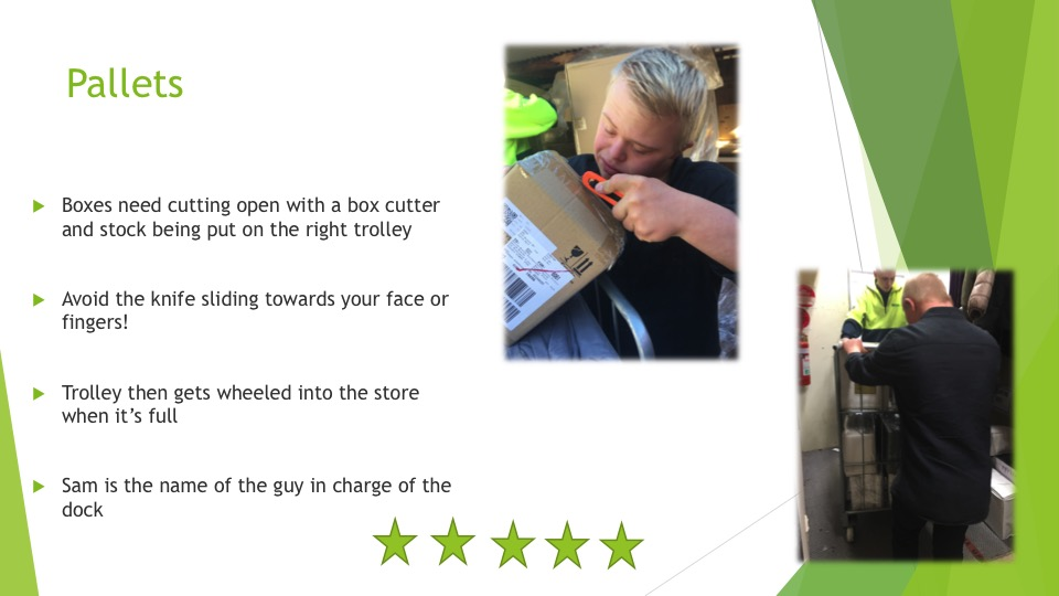 The skills required to manage boxes of goods from pallets - five stars