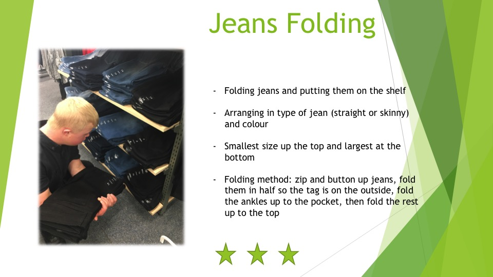 The skills required to fold jeans - three stars