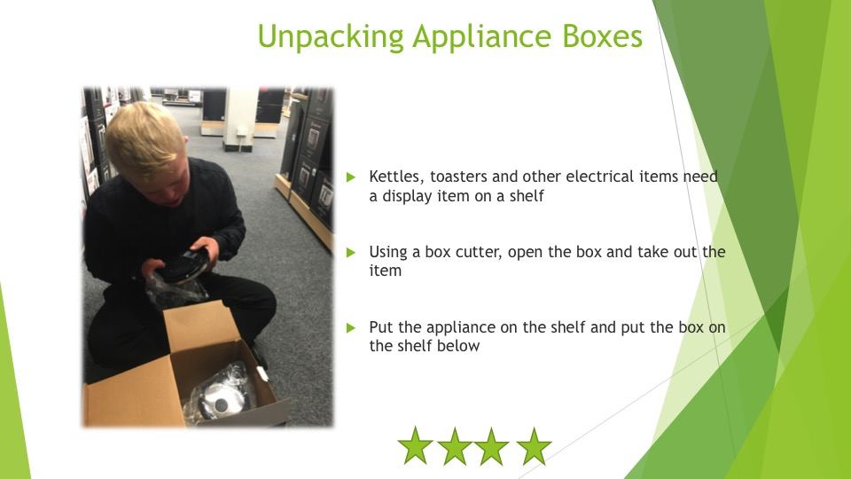 The skills required to unpack appliance boxes - four stars