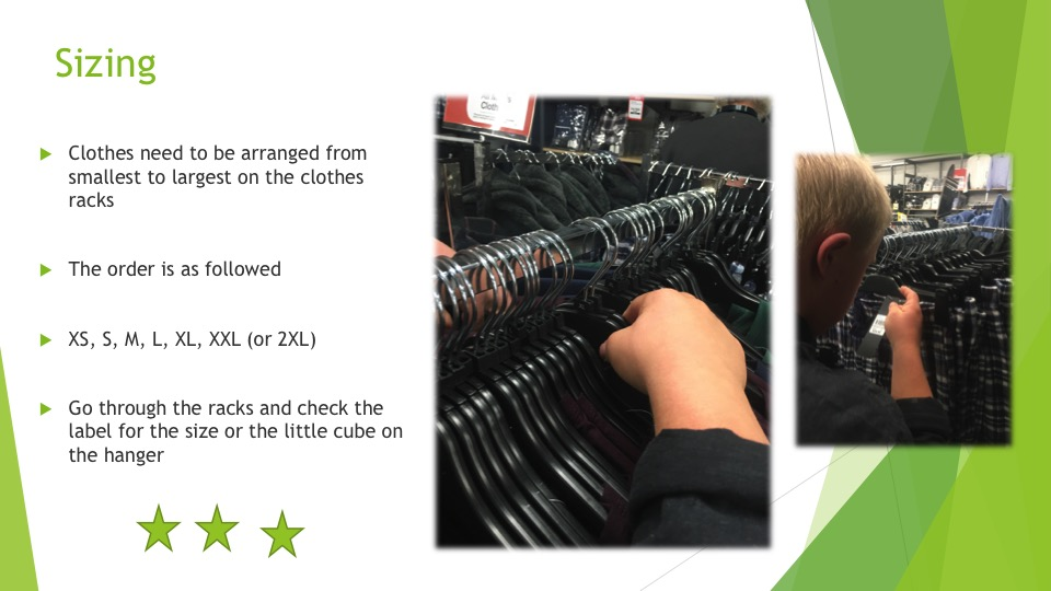 The skills required to arrange clothes in sizes on racks - three stars